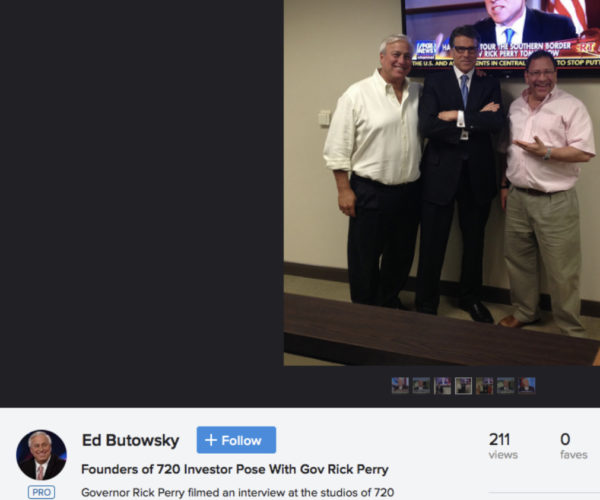 Ed Butowsky and Joe Harberg Founders of 720 Investor pose with Gov Rick Perry