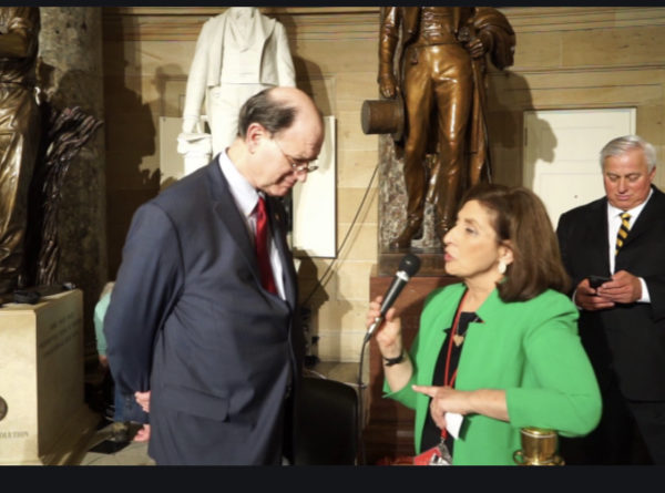 California Rep. Brad Sherman, D, interviewed by Ellen Ratner while Ed Butowsky waits in the background