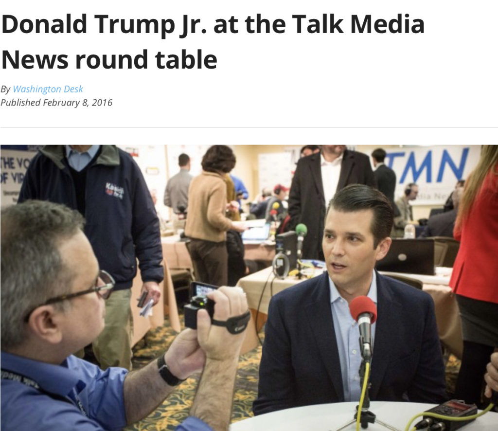 Donald Trump Jr. is basking in New York Attorney General's announcement that he will resign on Tuesday. Trump is shown, participating in a round-table discussion at the Talk Media News radio row in Manchester, N.H., on Feb. 8, 2016, the eve of the New Hampshire primary. (Luke Vargas/TMN)