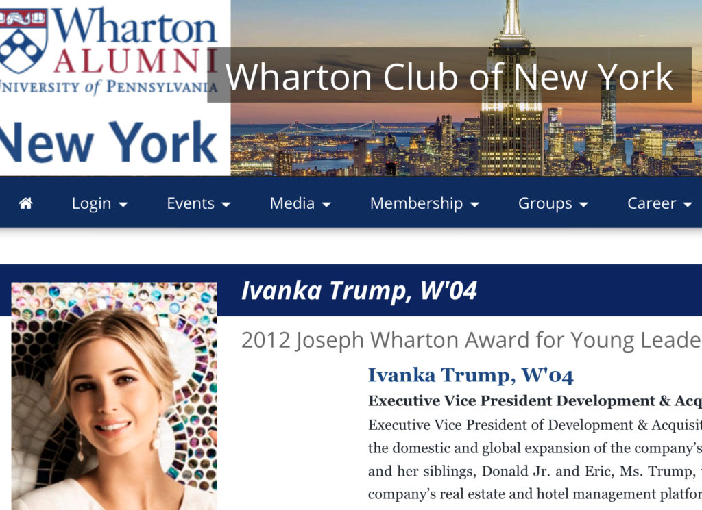 Ms. Trump graduated Cum Laude from the Wharton School of Finance at the University of Pennsylvania and received a bachelor's degree in science in economics. Before joining The Trump Organization in 2005, Ms. Trump worked for Bruce Ratner at Forest City Enterprises as a real estate project manager.