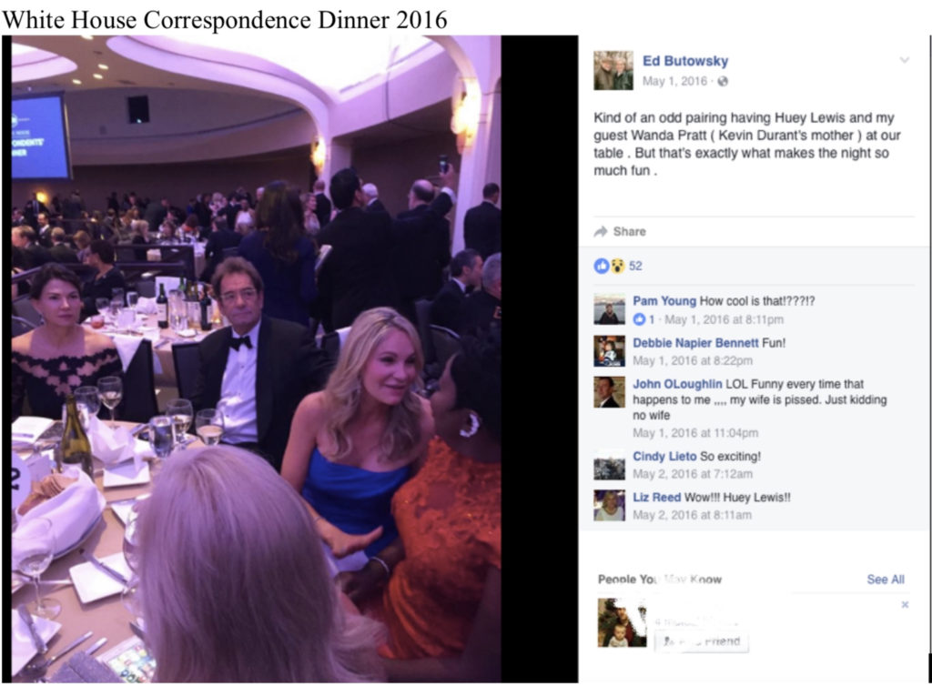 He brought some of his Clubhouse Investment Club members to DC to attend the White House Correspondence Dinners, some of his guests included Claudia Jordan, Wanda Pratt - Kevin Durant's mother