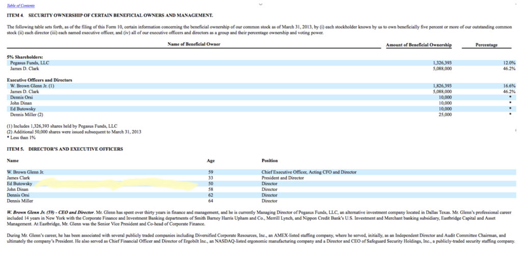 Butowsky never disclosed he was a board member or that he had Beneficial Ownership in the Company.